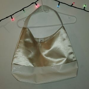 Handbags - GUC creme satin shoulder bag, faux pleather bottom
